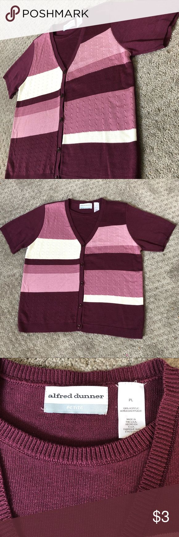 Purple Short Sleeve Top EUC Purple and white striped button down top with a faux layer beneath by Alfred Dunner. Size petite Large, and fits true to size. Wear it with light colored slacks for a business casual look, or with black skinny jeans and flats for a casual day out. Alfred Dunner Tops Blouses