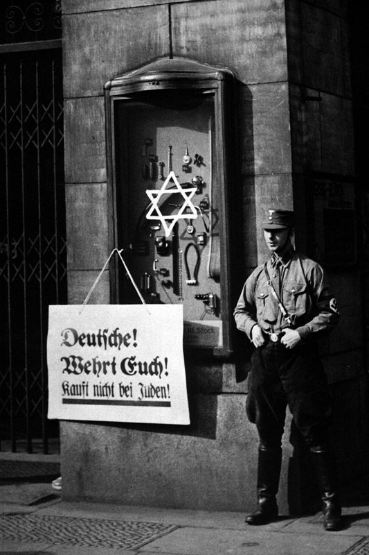 Hitler's SA storm troopers undertook a sustained anti-Semitic campaign. At first it was a boycott but it quickly degenerated into a vicious and sustained attack on Jewish people, their commercial premises', religious buildings and homes.
