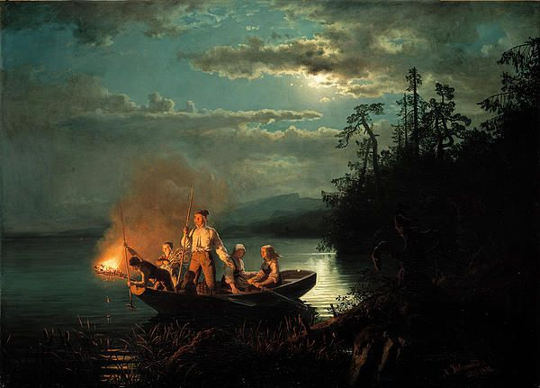 Spearfishing on the lake Kroderen, Hans Gude, 1851