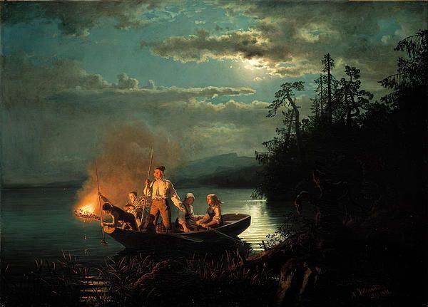 Spearfishing on the lake Kroderen, Hans Gude, 1851