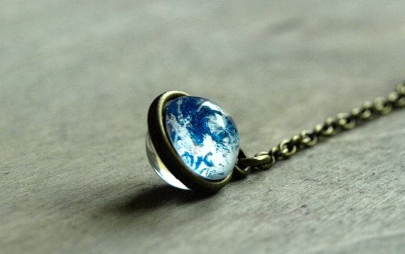 Earth necklace Earth pendant Planet necklace Earth