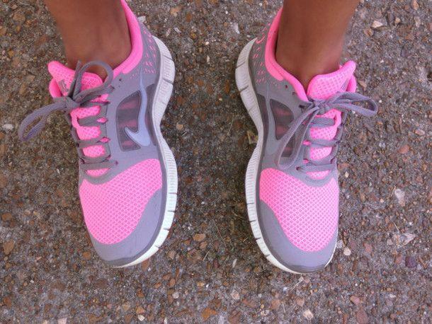 Shoes: nike, pink, grey, running, hot pink, nike free runs - Wheretoget