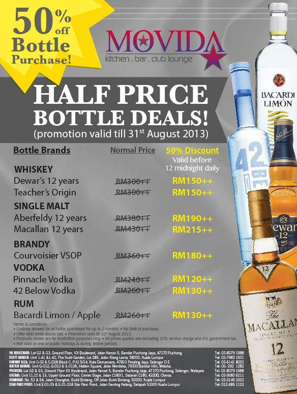 Half Price Bottle Promotion@MOVIDA!