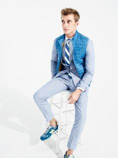 J.Crew men's Ludlow suit in mini-oxford. To preorder call 800 261 7422 or email verypersonalstylist@jcrew.com.