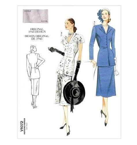 Vogue V1072 Sewing Pattern AVERAGE Misses 4-18 OOP Jacket Skirt Top Vintage  1948 #
