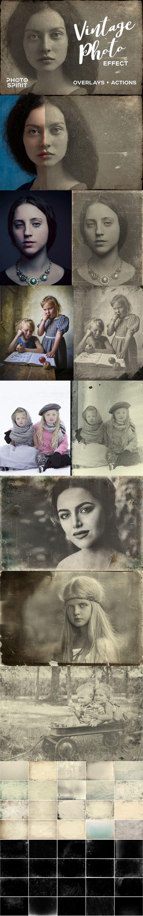 Vintage alte Foto-Effekt-Überlagerungen von PhotoSpirit auf kreativem Markt