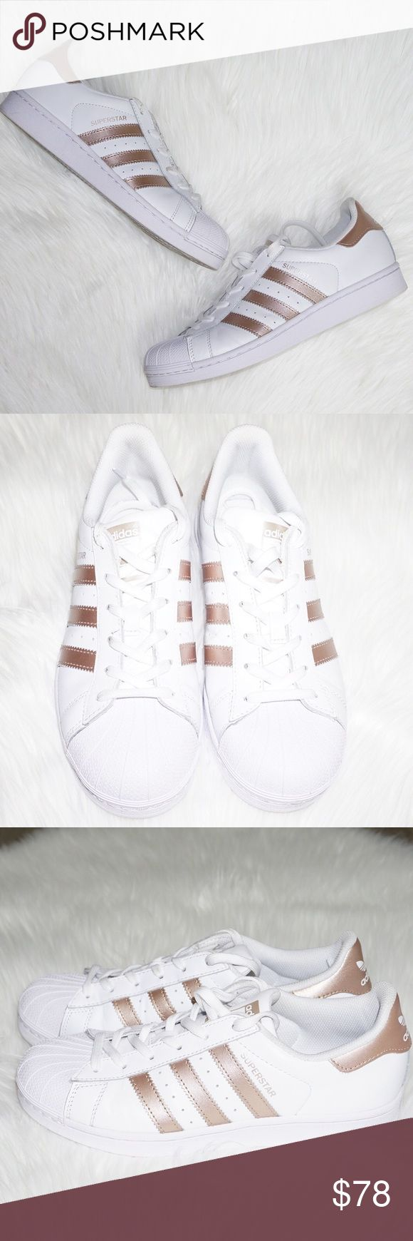Adidas Superstar Rose Gold Sneakers Size: 7.5 Condition: Pre-owned; Excellent- These shoes were only worn 2 times. They do not have any stains on the outside leather, it is perfectly white. The only signs of wear is on the bottom of the sole or inner lining (very minimal) Features: Comes with the box. 100% Authentic  Please check out my other designer items! adidas Shoes Sneakers