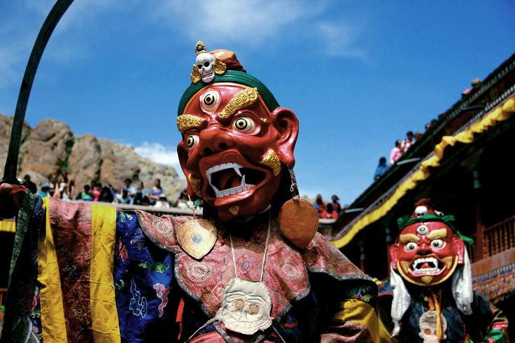 Hemis Festival : One of the grandest monastery festivals is being held at the Hemis Monastery from 14-15 July 2015. Watch mask dances, cham dances, prayers etc. Hemis comes alive with celebrations from the monastery to the surrounding bazaar the atmosphere is full of faith, fervor and happiness.  #HemisFestival #Leh #Festival #SacredDot