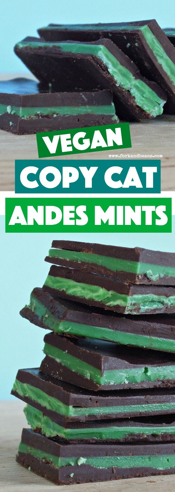 Just like the real deal, these copy cat vegan Andes Mints are a great dairy free treat when you are looking for that chocolate and mint combo!