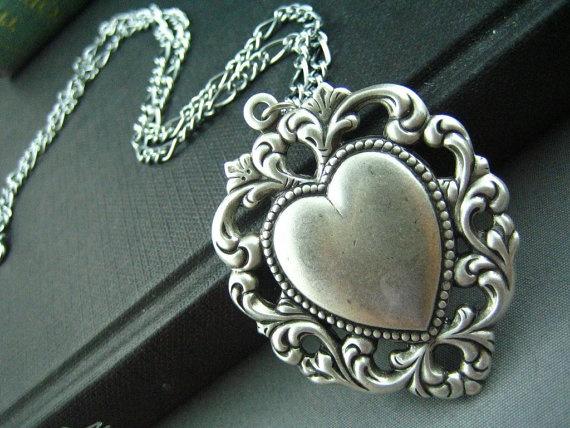 Sterling silver plated brass art nouveau filigree ornate heart necklace
