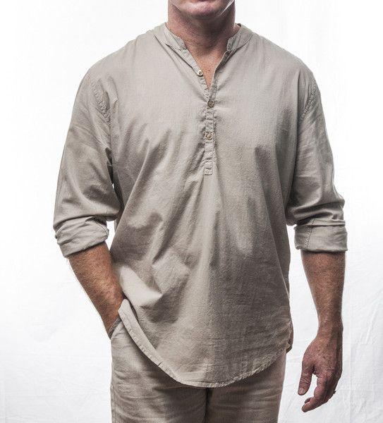 Designer long sleeve long cotton shirt with crew neck collar $69