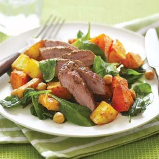 Spiced lamb with crispy roasted veges and chickpeas | Healthy Food Guide