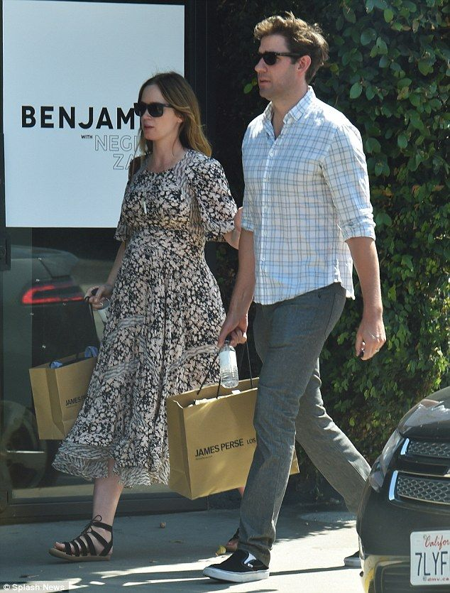 Out and about: On Monday, a heavily pregnant Emily Blunt and husband John Krasinski  hit the stores on trendy Melrose Avenue in West Hollywood for a bit of retail therapy