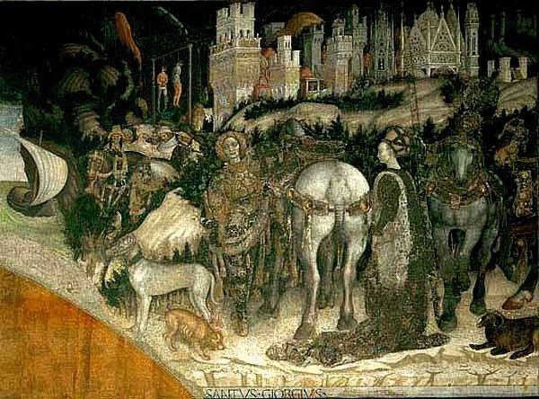 Pisanello - San Giorgio e la principessa, dettaglio - affresco staccato - 1436-1438 - Chiesa di Sant'Anastasia, Verona