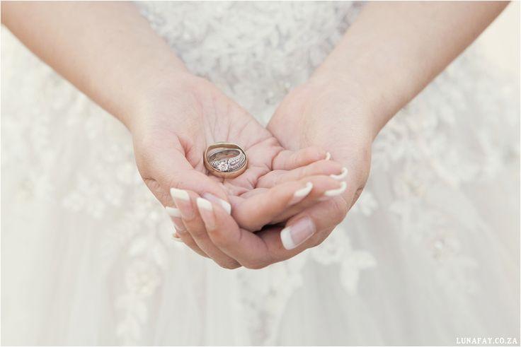 Wedding Photography Wedding dress detail & wedding rings www.lunafay.co.za