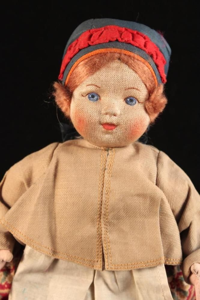"1930 Rare Antique 10"" Russian Cloth Stockinette Red Hair Girl Doll Russia USSR 