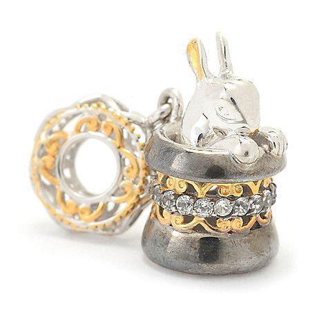 146-152 - Gems en Vogue White Topaz Magician's Hat & Rabbit Drop Charm