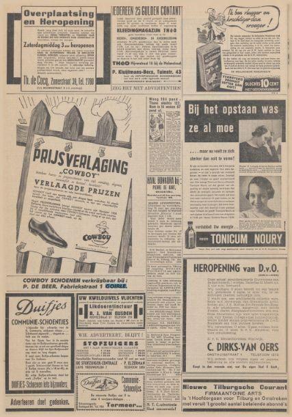 Advertentie Krantentitel: Nieuwe Tilburgsche Courant Datum, editie:11-03-1938