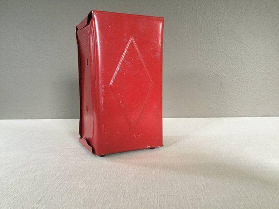 Vintage Restaurant Napkin Holder – Red Metal Napkin Holder – Napkin Dispenser – Industrial Metal Kitchen