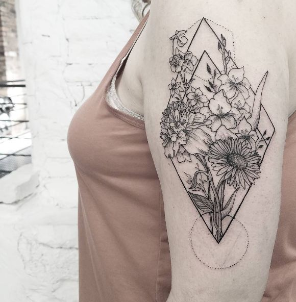 Geometric flower piece done by @release852 at @inkandwatertattoo - - - #tattoo #blackandwhite #blackwork #tinytattoos #tiny #black #small #wrist #tatttoosforwomen #ideas #minimalist #dotwork #floral #geometric #sunflower #upperarm #bicep