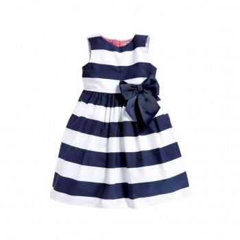 Baby Girl's Bow-Accent Striped Sleeveless Dress