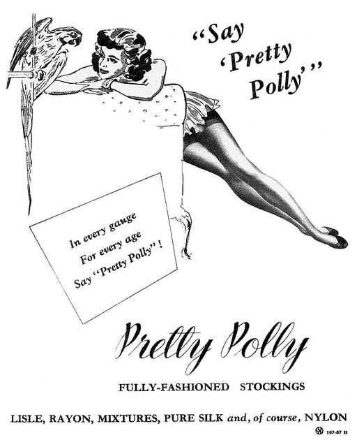 1952 Pretty Polly fully-fashioned stockings ad,1952. #vintage #1950s #vintagestockingads