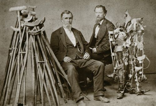 The prevalence of amputation during the Civil War created a need for prosthetic devices, which this pair of salesmen was happy to fill. In 1866, more than half of the entire budget for the state of Mississippi was expended on artificial arms and legs.  Photographer unknown, circa 1866  From The Face of Mercy - A Photographic History of Medicine at War