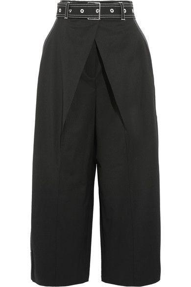 Proenza Schouler - Cropped Wool-blend Twill Wide-leg Pants - Black