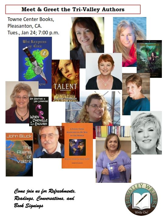 If you're in California, it would be great to meet you. The event is fun and a great group to meet.See you there. We'll have copies of Written Across the Genres to look at and/or buy, plus books by the other featured writers.