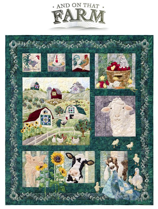 """McKenna Ryan has created an adorable patchwork farm quilt in her And on That Farm. McKenna's patterns include cows, pigs, chickens, goats, ducks, chicks, and cats. The finished project measures 66.5"""" x 75"""". The quilt consists of the new Acres to Sew hand dyed Bali Batiks from Hoffman."""