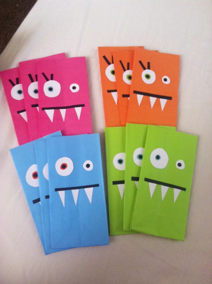 Monster themed favor bags for birthday party.