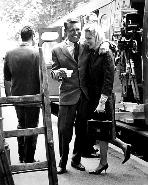 "cinematicfinatic: ""Deborah and Cary on the set of The Grass Is Greener. """