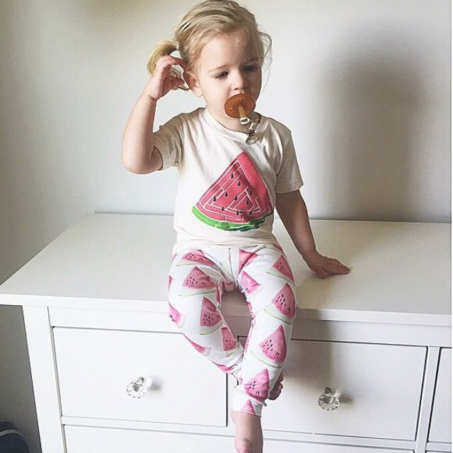 brikHOUSE Watermelon Leggings. Perfect baby shower gift. Organic cotton and modern shapes make this a must have this season.