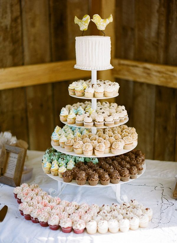 Cupcake Wedding Cakes- mini cupcakes in a lot of different flavors? @Clair Carter