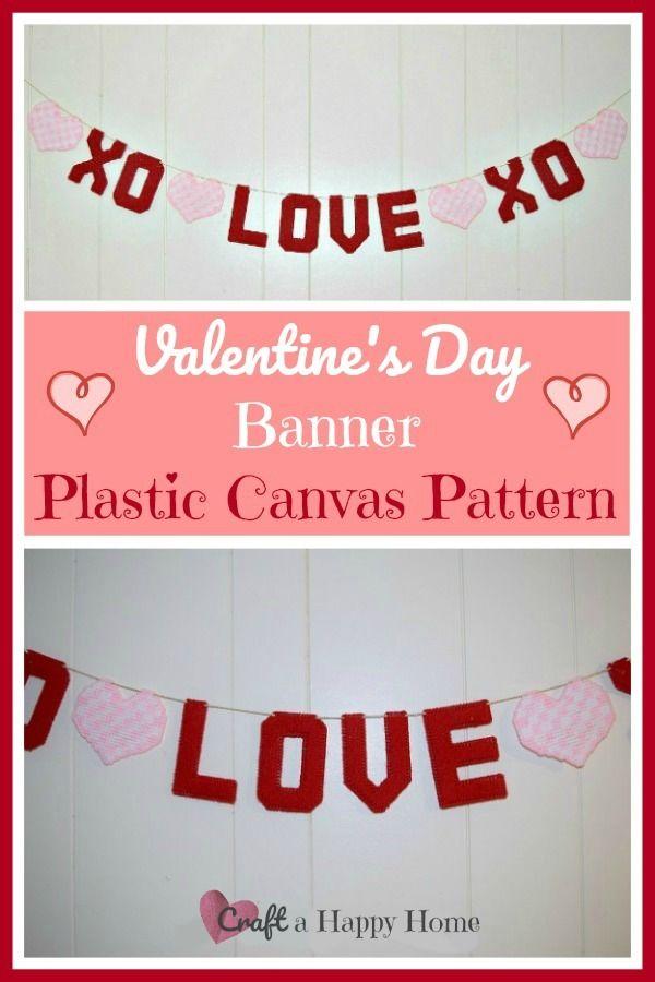 Valentine S Day Banner Plastic Canvas Pattern In 2020 Plastic Canvas Patterns Canvas Patterns Plastic Canvas