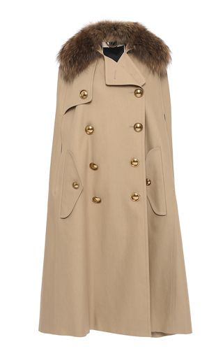 Trench Cape With Raccoon Collar by BURBERRY for Preorder on Moda Operandi