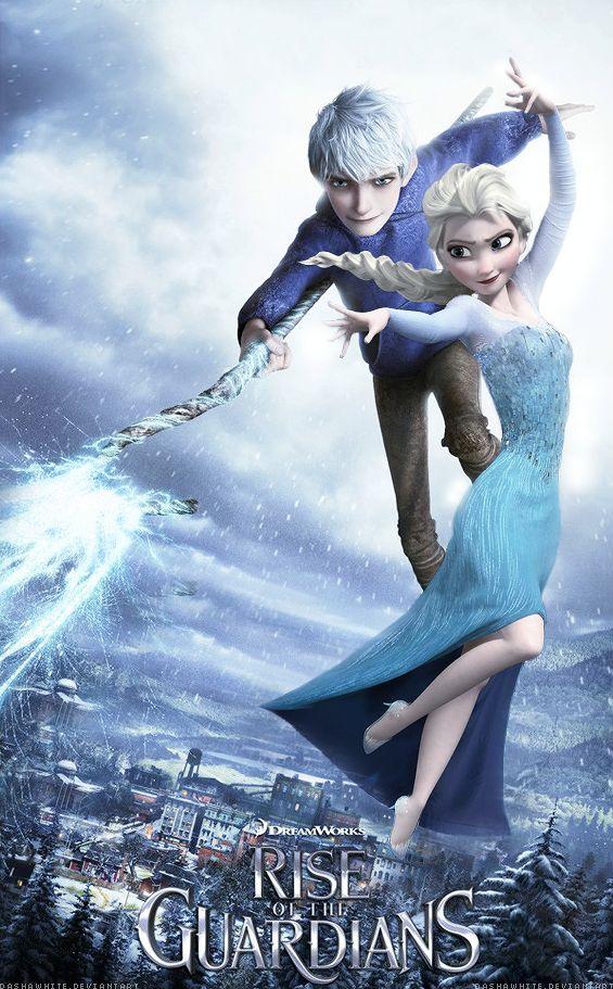 Elsa and Jack Frost in Frosty Kingdom by cylonka on deviantART