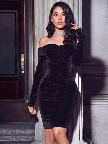 Ashton Off Shoulder Velvet Long Sleeve Bodycon Dress – Miss Circle