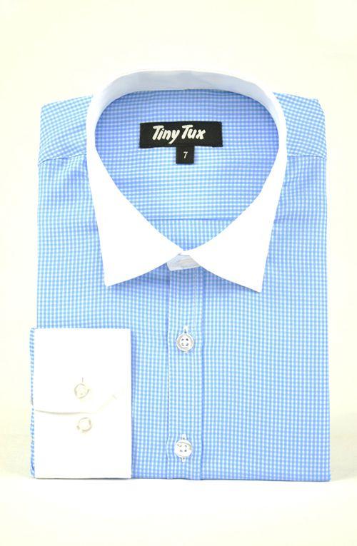 Carnaby check blue boys shirt