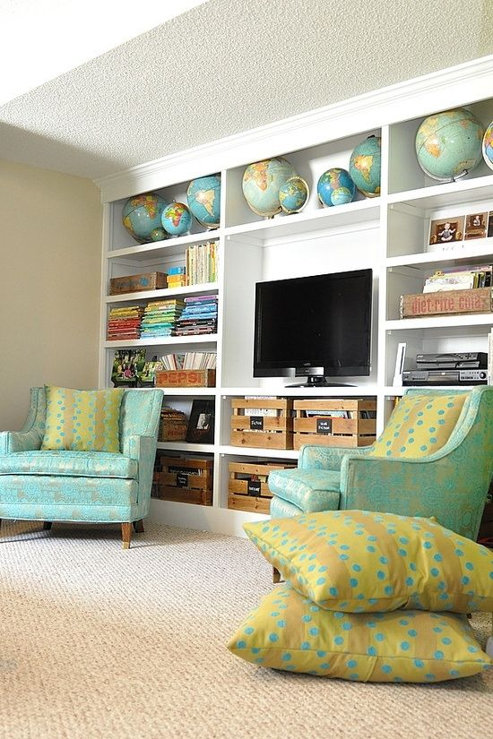 Bookshelf with globes & wooden crates