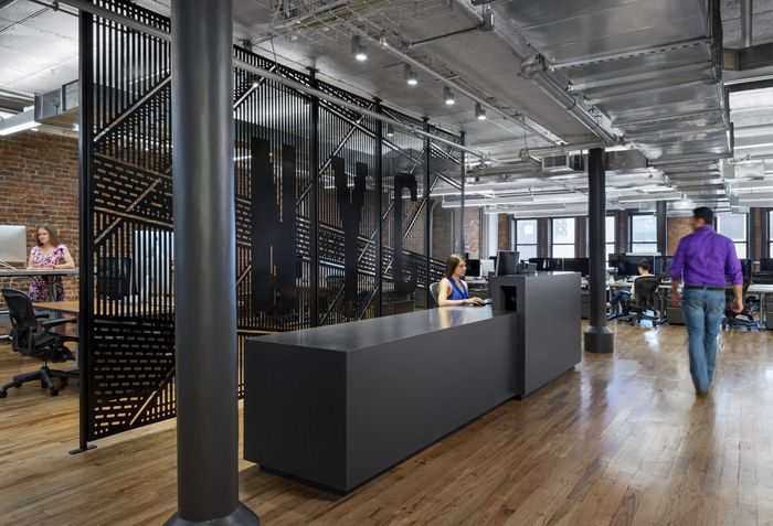 Reception area inspiration from Dropbox's offices in New York City