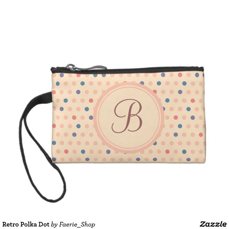 Retro Polka Dot Coin Purse #faerieshop #vintage #circle #polka #dot #trendy #pattern #retro #monogram #geometric #monogram #style #simple #abstract #old #design #beige #peach #red #blue #beautiful #fashion #modern #print #background #sale #zazzle #monogram #edit #customizable #gift #present #bag #cosmetic #pouch