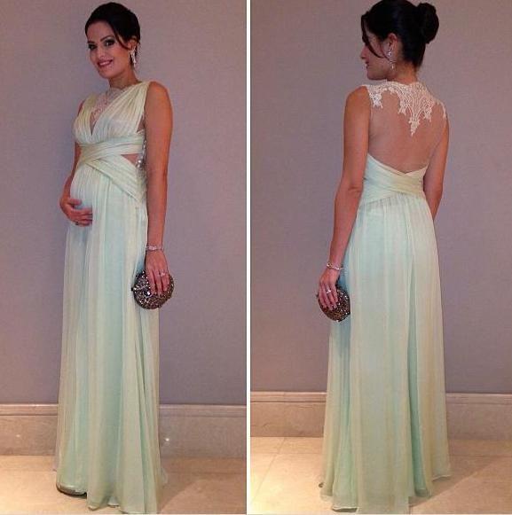 Vestidos de madrinha para grávidas - Verde-água - Mariah Bernardes