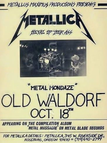 October 18, 1982:  One of the earliest Metallica shows with Ron McGovney on bass and Dave Mustaine on guitar was recorded at the Old Waldorf, San Francisco California as they were performing the final dates of their 1982 tour.    51 min. / 480p https://youtu.be/tpznYFcxylQ  setlist: Hit The Lights; The Mechanix; Phantom Lord; Jump In The Fire; Motorbreath; No Remorse; Seek & Destroy; Metal Militia *************************** #Metallica