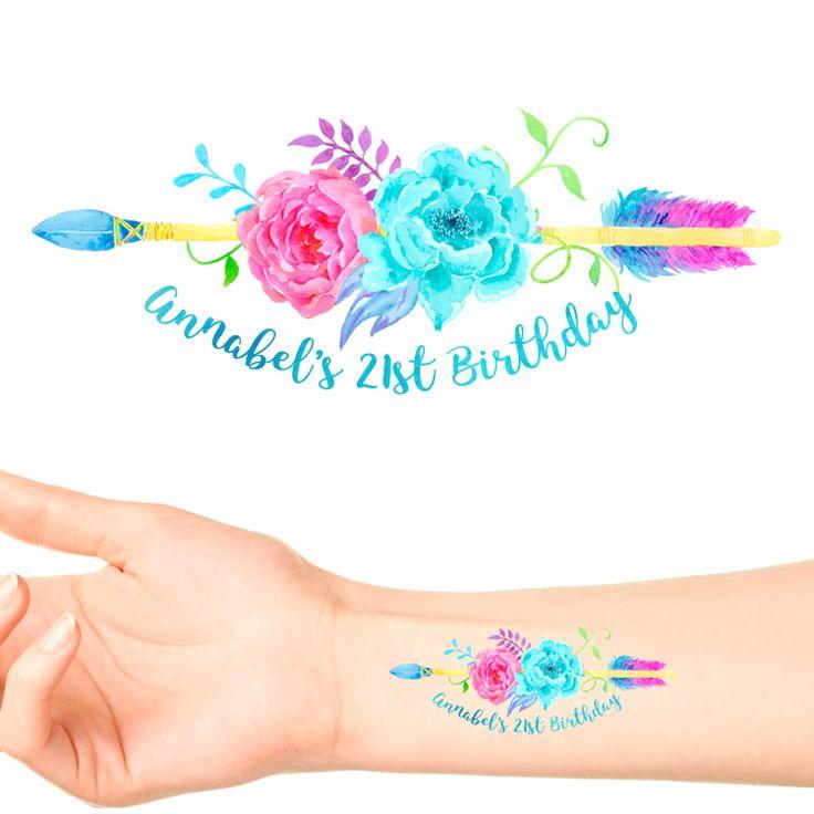 Boho Neon Birthday Temporary Tattoos #1141 (24 pack)