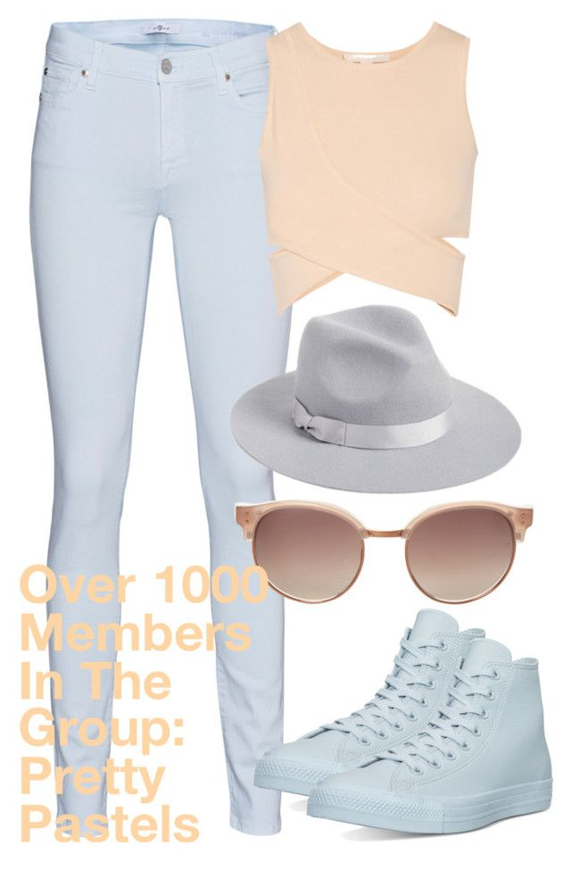 """Over 1000 Members In The Group: Pretty Pastels"" by deedee-pekarik ❤ liked on Polyvore featuring 7 For All Mankind, Jonathan Simkhai, Lack of Color, Linda Farrow, Converse, pastel, pastels, pasteloutfit, prettypastels and pastelfashion"