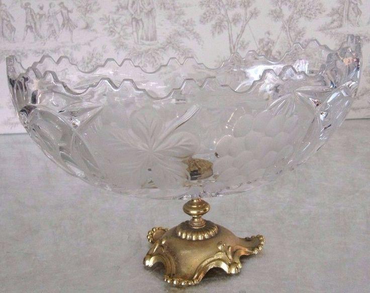 VTG Antique Ornate Gilt Bronze Crystal Dish Grapes Fruit Bowl Centerpiece