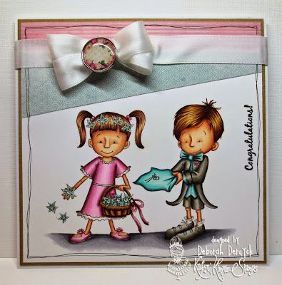 """Card featuring """"Happily Ever After"""" from Kraftin' Kimmie Stamps. Designed by Deborah Deruyck www.kraftinkimmiestamps.com #wedding #rings #flowers"""