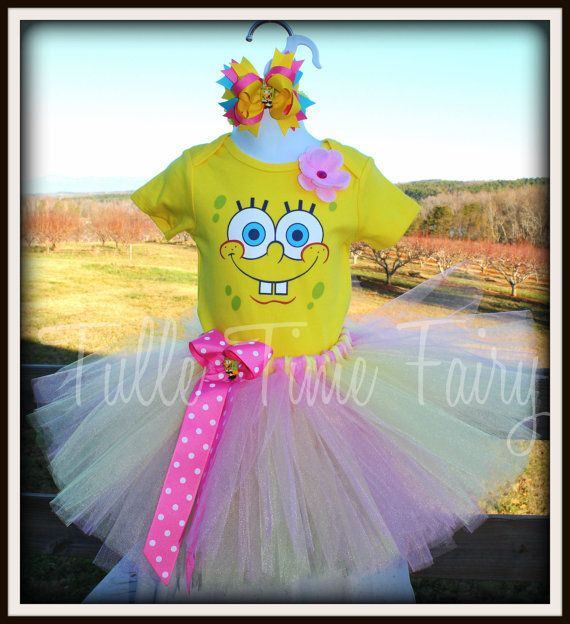Spongebob onesie hairbow and tutu combo size 12 by Tulletime