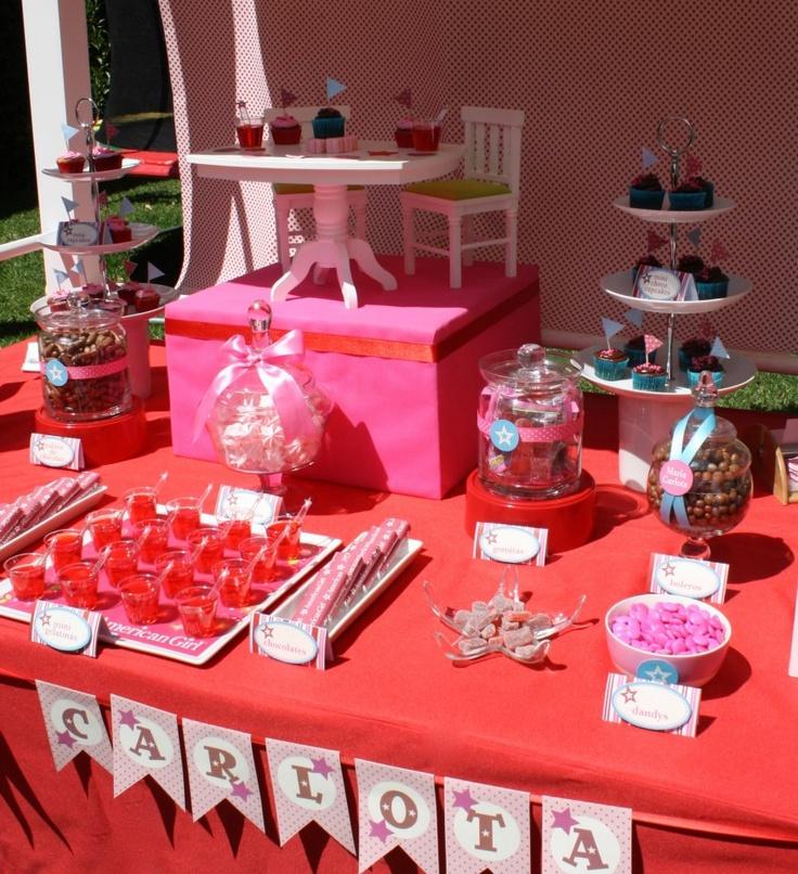 Pink U0026 Red American Girl Dessert Table